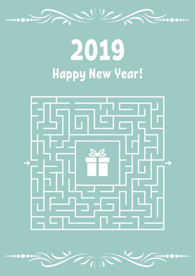 Carte de voeux de nouvelle année avec le labyrinthe carré Trouvez le chemin droit au cadeau Jeu pour des gosses Puzzle pour des e illustration libre de droits