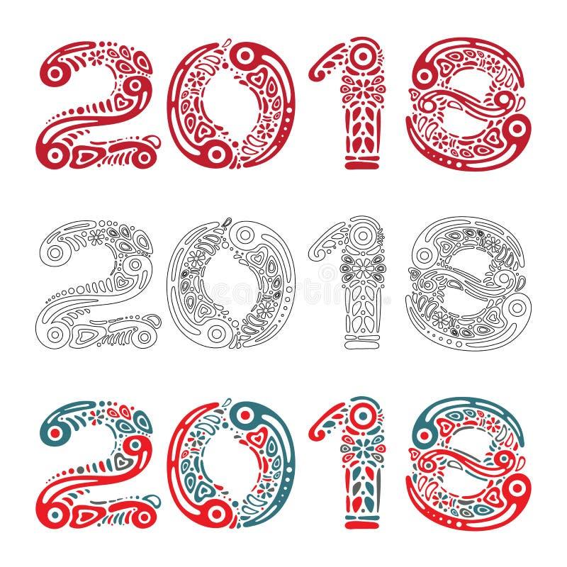Carte de voeux ou bannière de 2018 bonnes années sur le fond blanc et remplie de formes décoratives d'ornement de modèle ou de ré illustration libre de droits