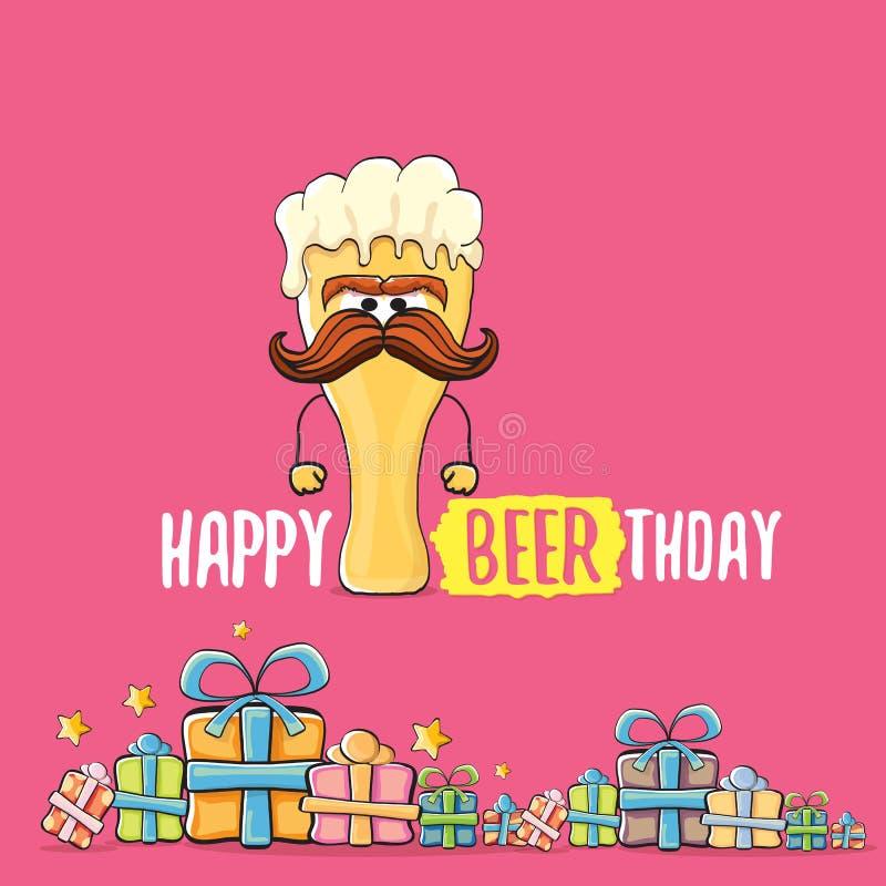 Carte de voeux ou copie heureuse de vecteur de Beerthday Affiche de célébration de partie de joyeux anniversaire avec le caractèr illustration de vecteur