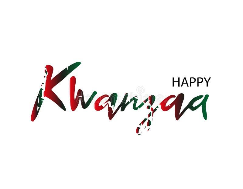 Carte de voeux ou fond heureuse de kvanzaa dans le style grunge Texte minable Illustration de vecteur illustration de vecteur