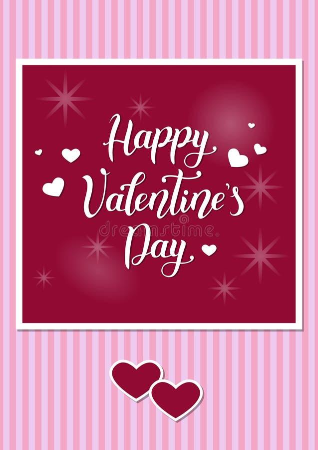 Carte de voeux ou valentine romantique avec le fond rayé rose et la calligraphie manuscrite dans le blanc du jour heureux du ` s  illustration stock