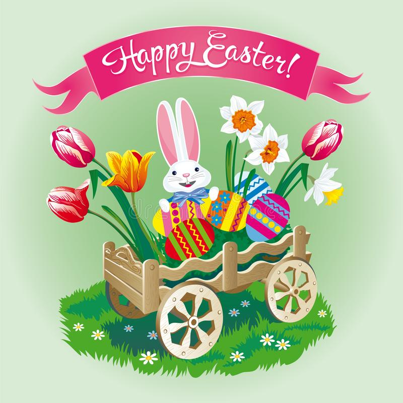 Carte de voeux de Pâques avec un chariot avec des oeufs et un lapin images libres de droits