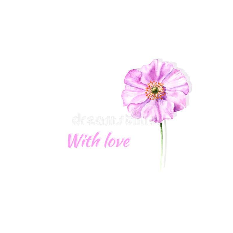 Carte de voeux peinte à la main d'aquarelle avec l'anémone et le texte de fleur avec amour Il est bon d'être employé pour la cart photo libre de droits