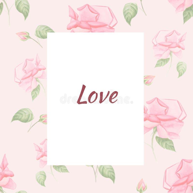 Carte de voeux peinte à la main d'aquarelle avec le modèle de fleur dans le style de vintage Roses sur le rose illustration stock