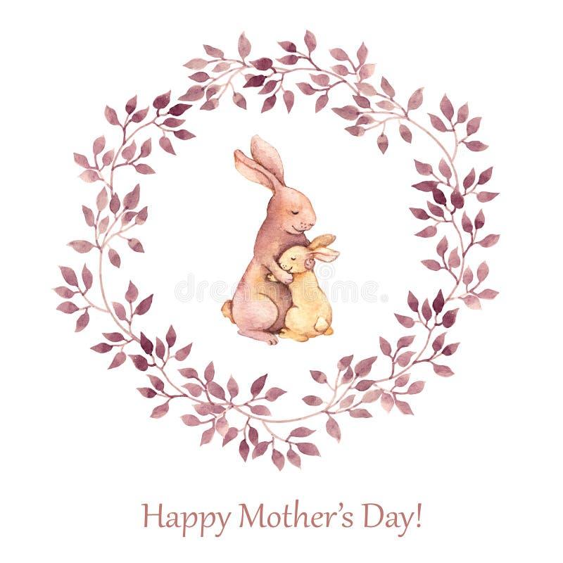 Carte de voeux peinte à la main pour le jour de mères avec des animaux - enfantez le lapin étreignant son enfant Retrait d'aquare illustration de vecteur