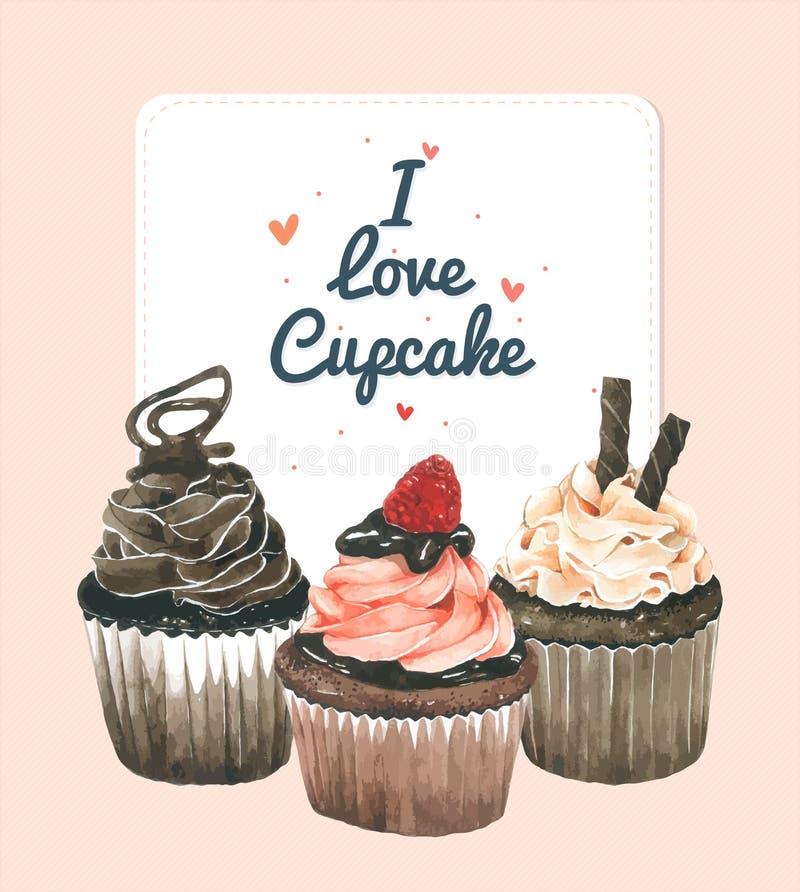 Carte de voeux de petit gâteau Dirigez le style d'aquarelle, conception pour l'anniversaire, album, conception de boulangerie illustration libre de droits