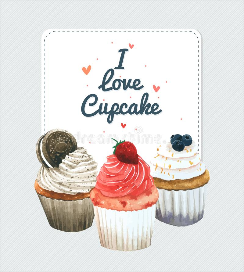 Carte de voeux de petit gâteau Dirigez le style d'aquarelle, conception pour l'anniversaire, album, conception de boulangerie illustration stock