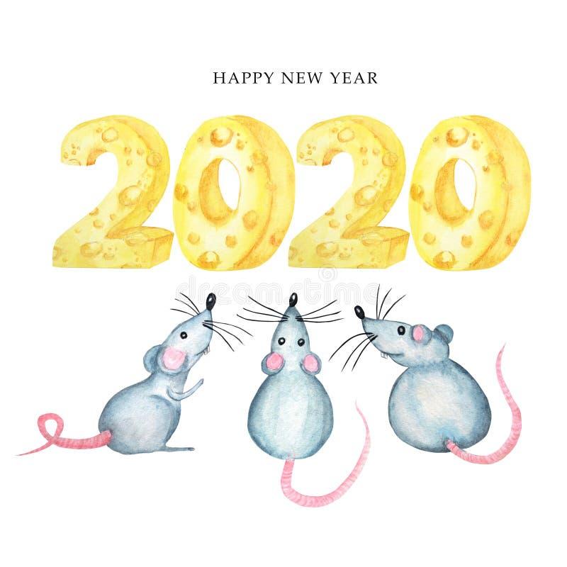carte de voeux 2020 de police de fromage Symbole de rat de dessin de main de bande dessinée d'aquarelle de l'horoscope chinois 20 illustration de vecteur