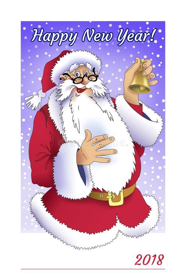 Carte de voeux pour 2018 avec Santa Claus photos stock