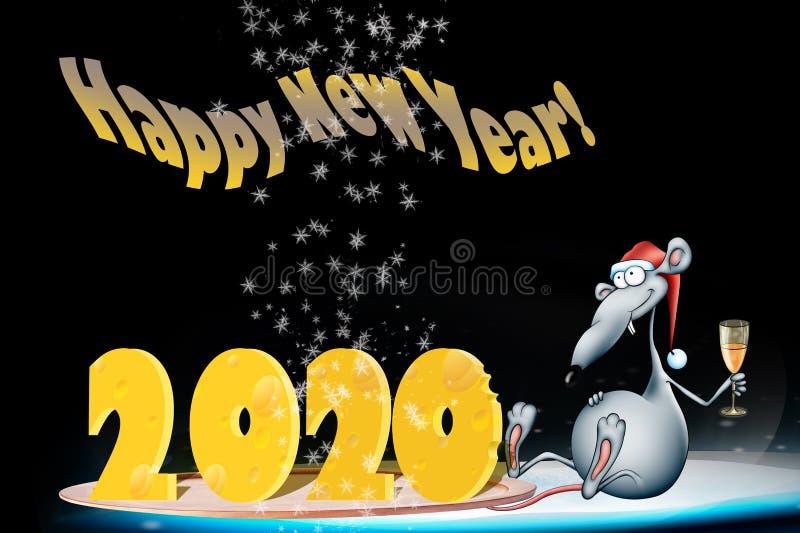 Carte de voeux pour 2020 An du rat Bonne année 2020 ! Design de carte de nouvelle année image stock