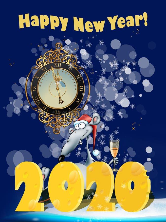 Carte de voeux pour 2020 An du rat Bonne année 2020 ! Design de carte de nouvelle année photo stock