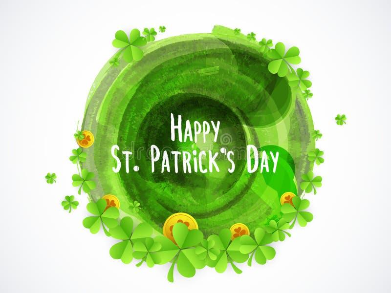 Carte de voeux pour la célébration du jour de St Patrick heureux illustration de vecteur