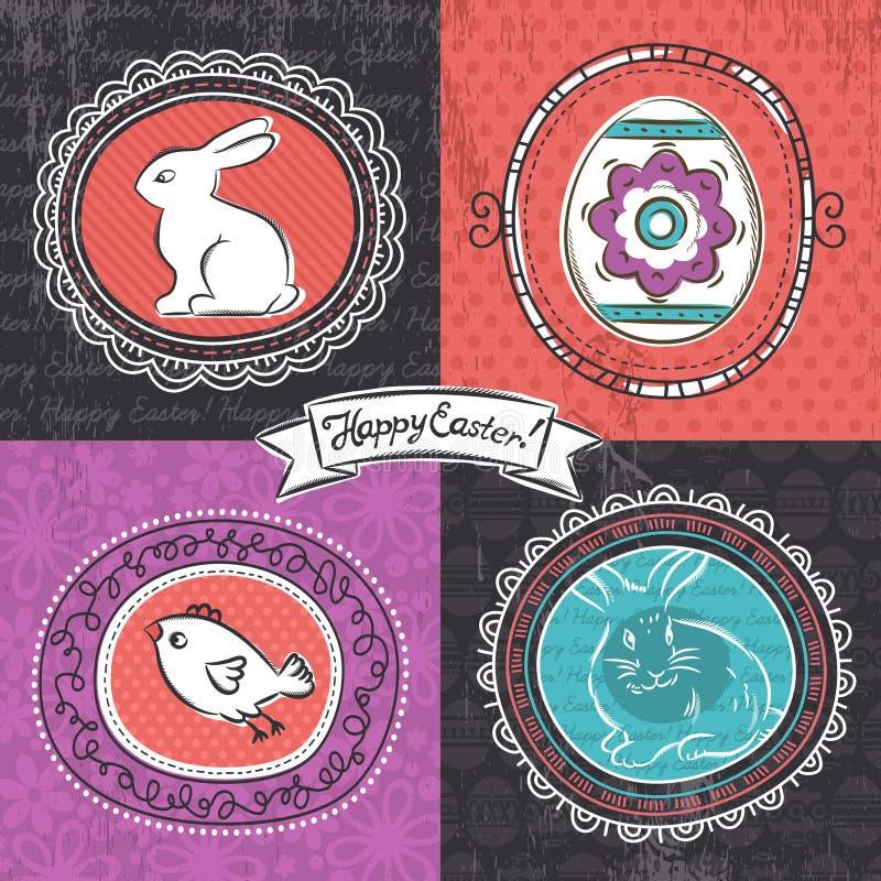 Carte de voeux pour le jour de Pâques avec quatre cadres illustration libre de droits