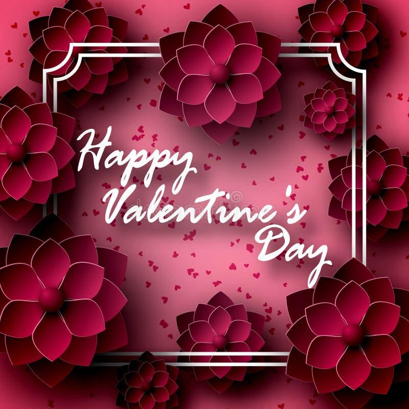 Carte de voeux pour le jour du ` s de St Valentine Les 14 de février Les fleurs, roses sont rouge foncé, dans le style de papier, illustration stock
