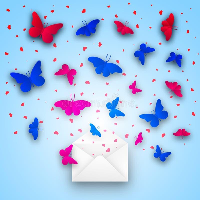 Carte de voeux pour le jour du `s de valentine Les papillons bleus et rouges, coeurs volent hors de l'enveloppe de courrier illustration libre de droits
