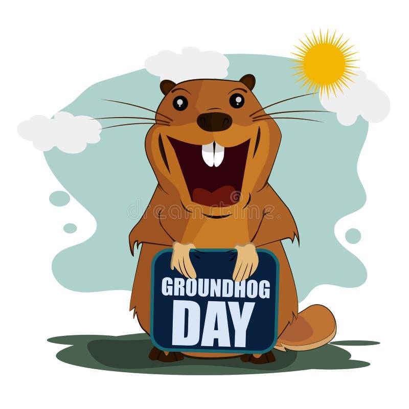 Carte de voeux pour le jour de Groundhog sur le fond d'isolement illustration de vecteur