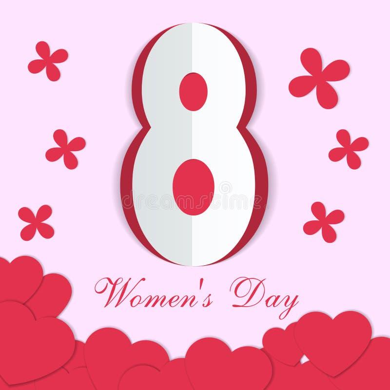 Carte de voeux pour le jour international du ` s de femmes Le papier a coupé les coeurs et les fleurs rouges sur un fond rose illustration de vecteur