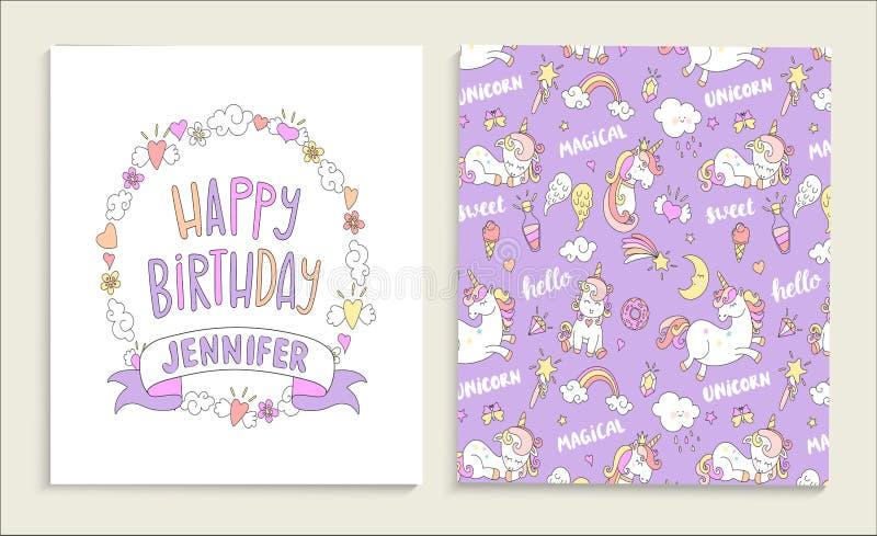 Carte de voeux pour le joyeux anniversaire avec des licornes illustration stock