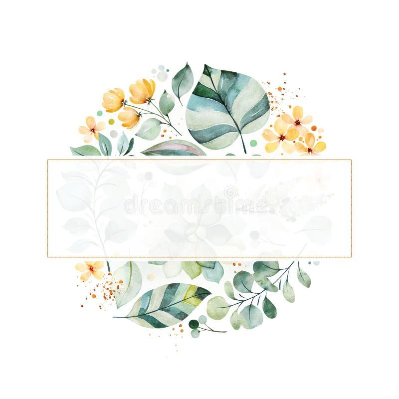 carte de voeux Pré-faite avec le feuillage, les feuilles de fougère, les branches, les fleurs jaunes et plus illustration de vecteur