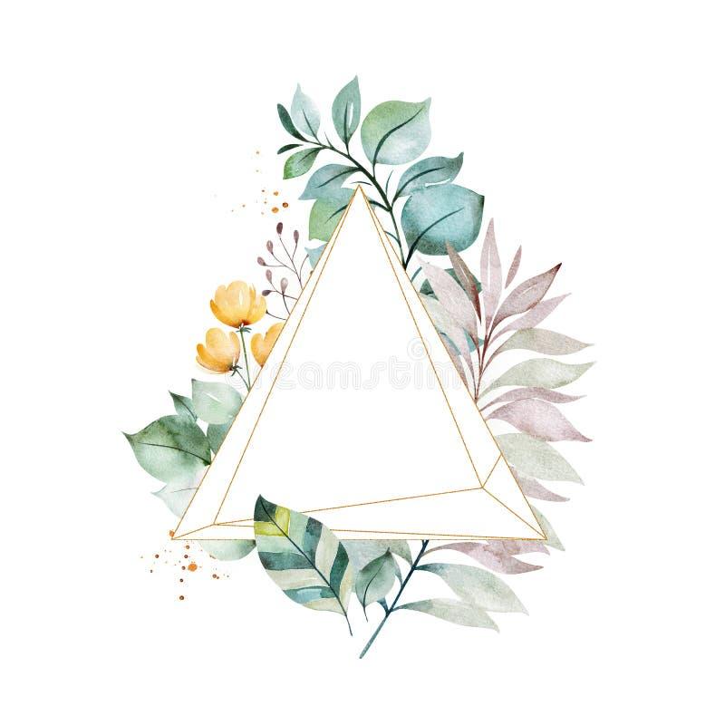 carte de voeux Pr?-faite avec le feuillage, les palmettes, les branches, les fleurs et plus illustration libre de droits
