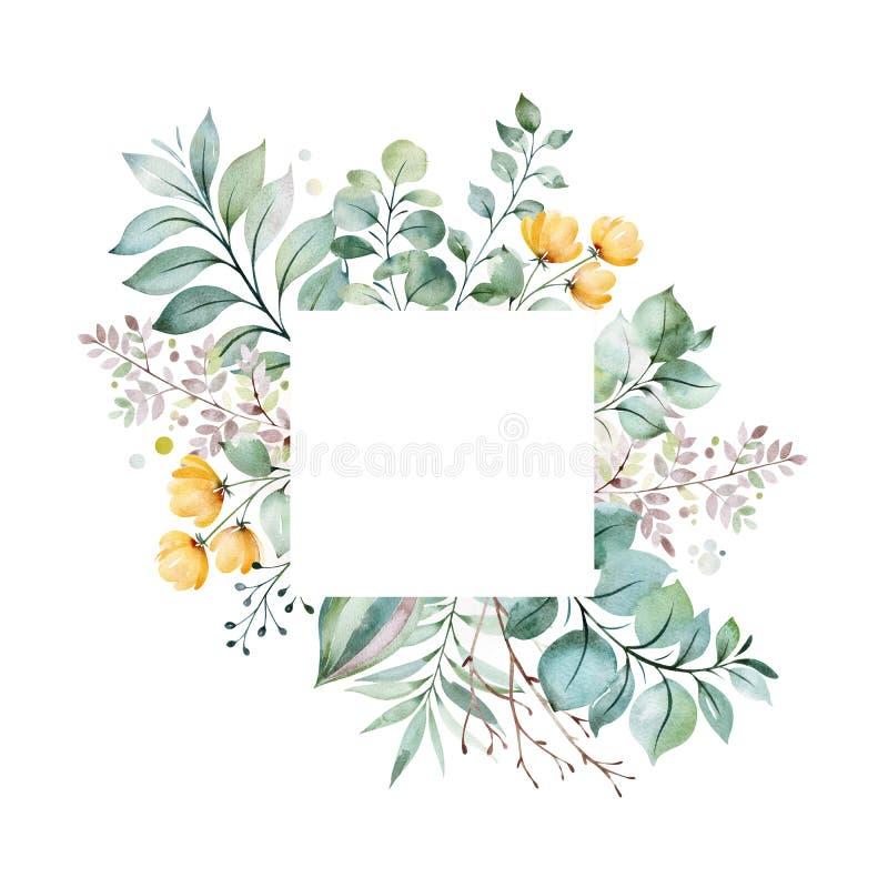 carte de voeux Pré-faite avec le feuillage, palmettes, branches, succulentes illustration stock