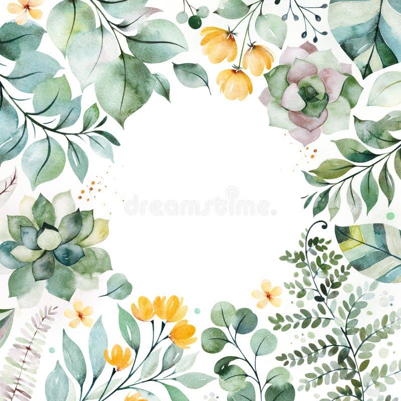 carte de voeux Pré-faite avec les usines succulentes, palmettes, branches et plus illustration libre de droits