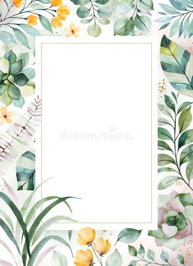 carte de voeux Pr?-faite avec les usines succulentes, palmettes, fleurs, branches illustration libre de droits