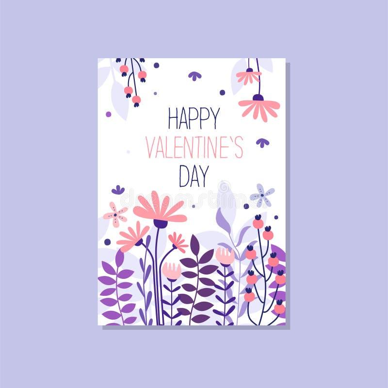 Carte de voeux romantique avec le jour de valentines heureux d'inscription, illustration élégante à la mode de vecteur de carte p illustration libre de droits