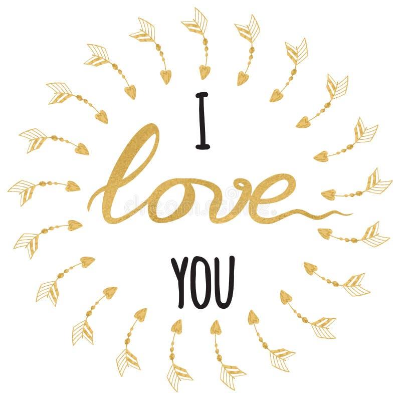 Carte de voeux romantique de vecteur Citation inspirée tirée par la main typographique d'or et d'étincelle je t'aime illustration de vecteur