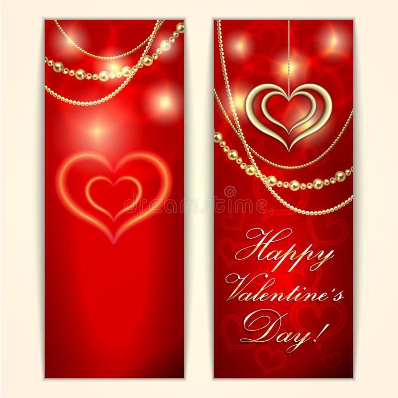 Carte de voeux rouge de Valentine de saint de vecteur avec illustration de vecteur