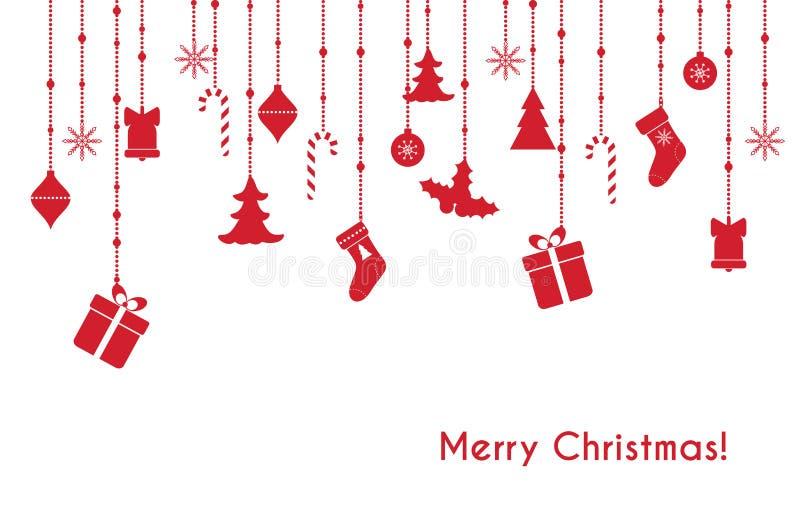 Carte de voeux rouge de vecteur de Noël illustration de vecteur