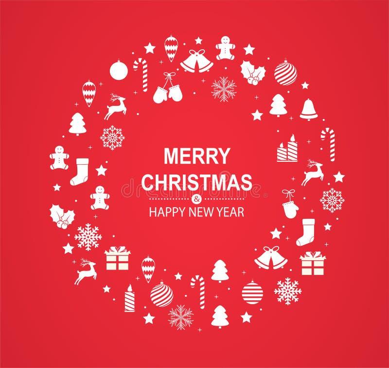 Carte de voeux rouge de Joyeux Noël et de bonne année avec les décorations de fête blanches sous la forme de cercle illustration stock