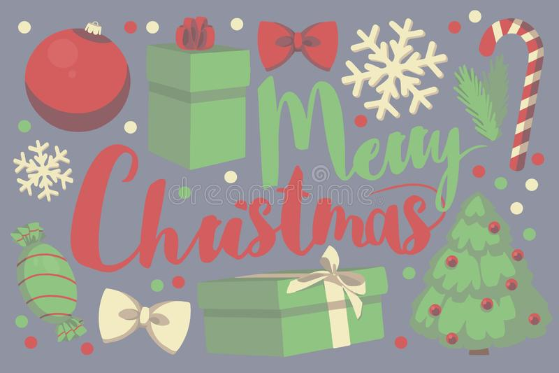 Carte de voeux saisonnière rouge et verte de Joyeux Noël de typographie de vecteur avec le boîte-cadeau, babiole de Noël, flocon  illustration libre de droits