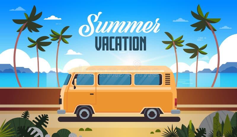 Carte de voeux surfante de vintage de plage tropicale de lever de soleil d'autobus de ressac de vacances d'été rétro horizontale  illustration stock