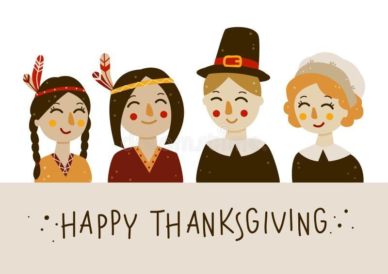 Carte de voeux de thanksgiving avec des Indiens et des pèlerins illustration stock