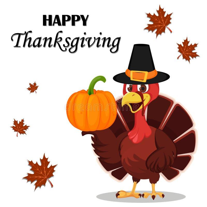 Carte de voeux de thanksgiving avec un oiseau de dinde portant un pèlerin illustration libre de droits