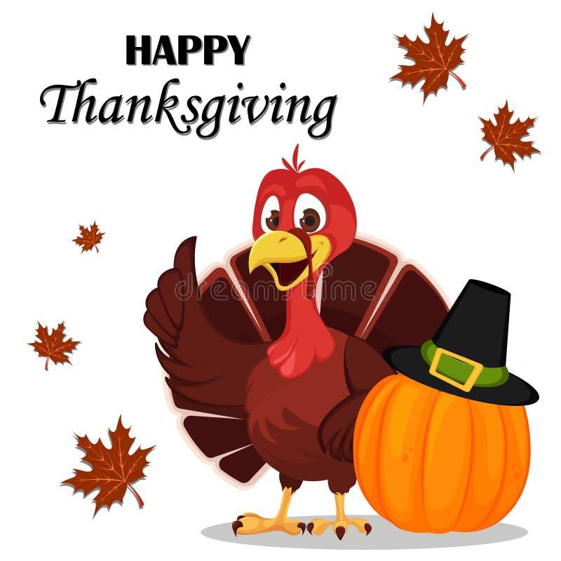 Carte de voeux de thanksgiving avec un oiseau de dinde tenant la pompe proche illustration de vecteur