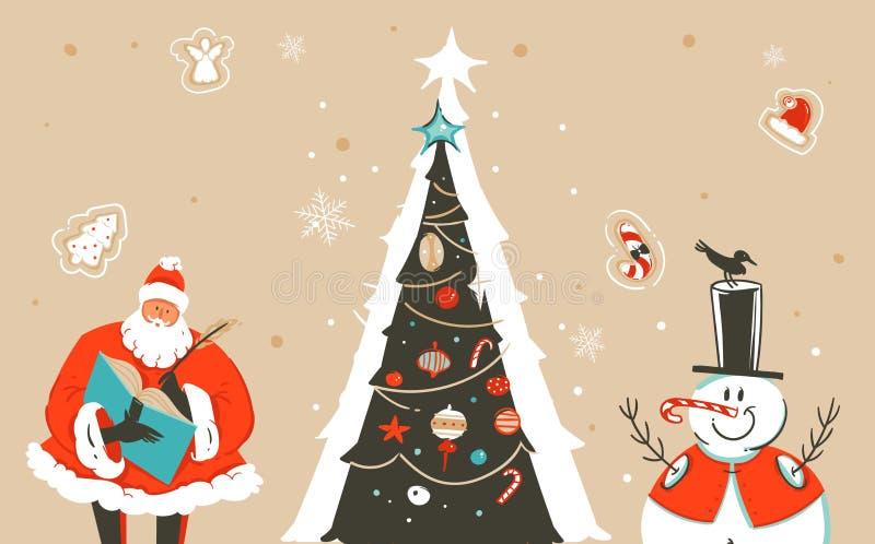 Carte de voeux tirée par la main d'illustration de bande dessinée de temps de Joyeux Noël d'amusement d'abrégé sur vecteur avec S illustration stock