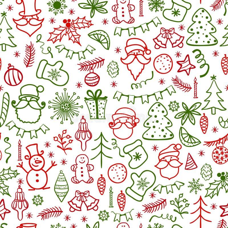 Carte de voeux tirée par la main de Noël avec l'arbre de Santa Claus et de Noël illustration stock