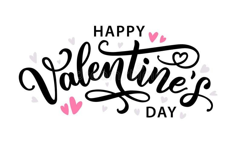 Carte de voeux tirée par la main heureuse des textes de jour de valentines Illustration de vecteur illustration stock