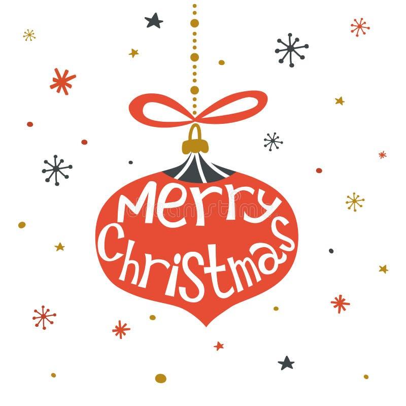 Carte de voeux tirée par la main de Joyeux Noël avec le lettrage de main, la boule de Noël, l'arc et les flocons de neige sur le  illustration libre de droits