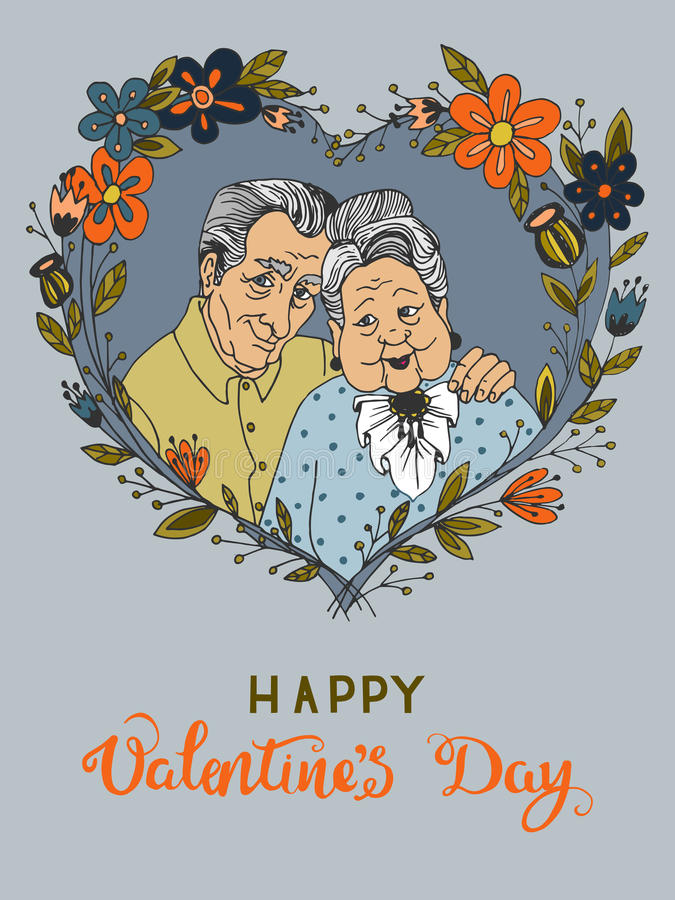 Carte de voeux tirée par la main pour le jour du ` s de Valentine avec couples heureux de bande dessinée de vieux ensemble illustration de vecteur