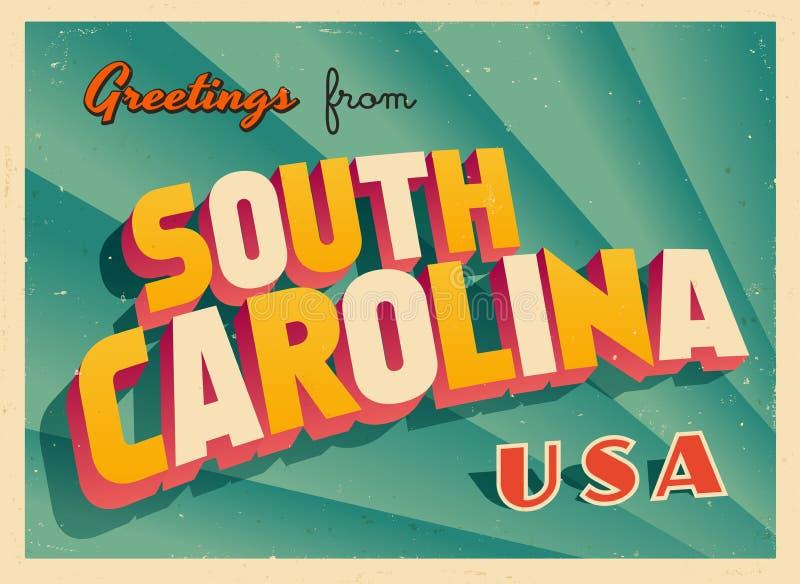 Carte de voeux touristique de vintage de la Caroline du Sud illustration libre de droits