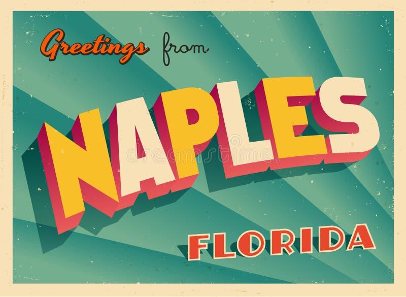 Carte de voeux touristique de vintage de Naples, la Floride illustration de vecteur