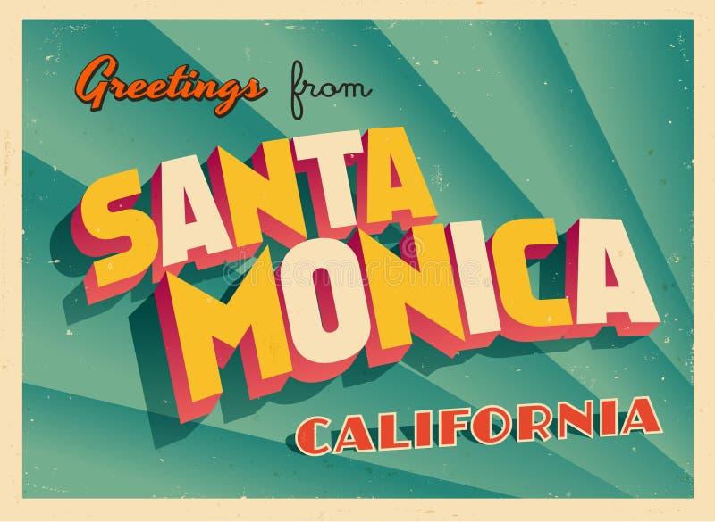 Carte de voeux touristique de vintage de Santa Monica, la Californie illustration de vecteur