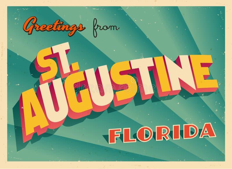 Carte de voeux touristique de vintage de St Augustine, la Floride illustration libre de droits