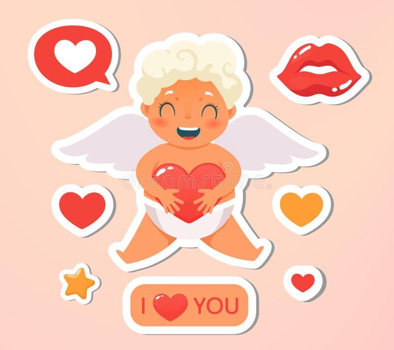 Carte de voeux Vacances, événement, lettre de fête Beau vol heureux de cupidon en nuages Ange blond tenant le coeur d'amour illustration stock