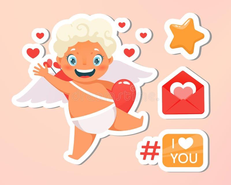 Carte de voeux Vacances, événement, lettre de fête Beau vol heureux de cupidon en nuages Ondulation blonde d'ange Je t'aime illustration libre de droits