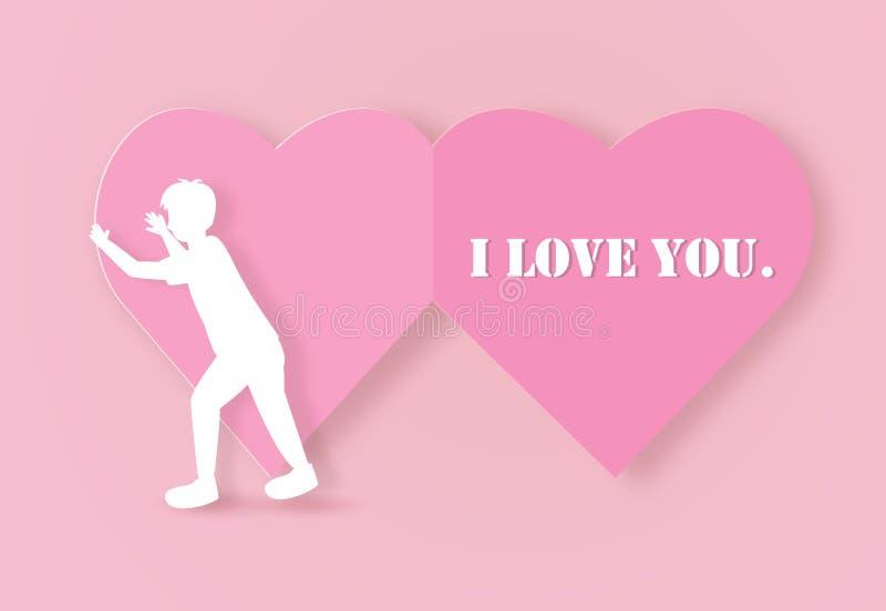 Carte de voeux de Valentine avec un coeur de papier ouvert de garçon illustration libre de droits