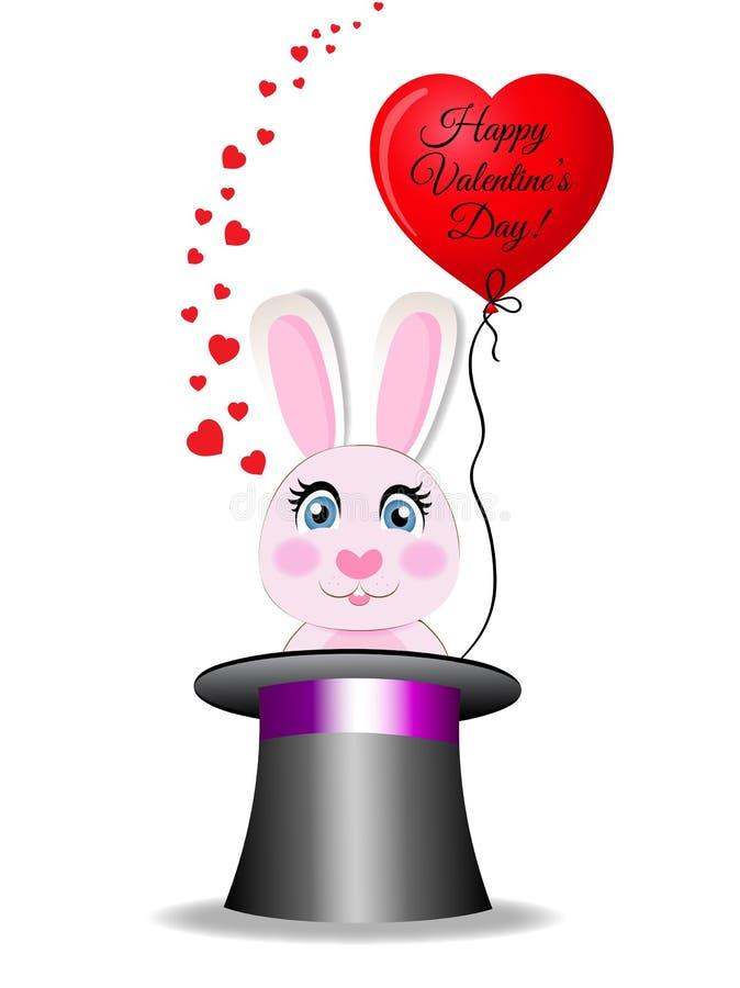 Carte de voeux de valentines avec le lapin dans le cylindre de magie noire illustration libre de droits